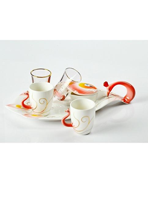 Yargıcı Porselen Porselen Kuğulu 6lı Kahve Takımı Renkli